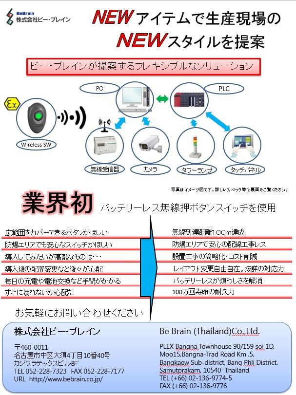ワイヤレス・バッテリーレススイッチを使用したシステム提案